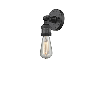 Bare Bulb Matte Black LED Wall Sconce