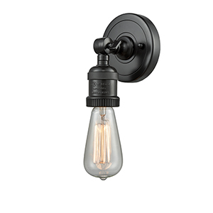 Bare Bulb Matte Black One-Light Wall Sconce
