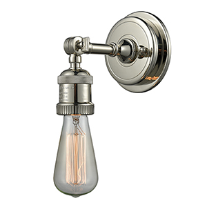 Bare Bulb Polished Nickel  One-Light Wall Sconce