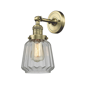 Chatham Antique Brass One-Light Wall Sconce with Clear Fluted Novelty Glass
