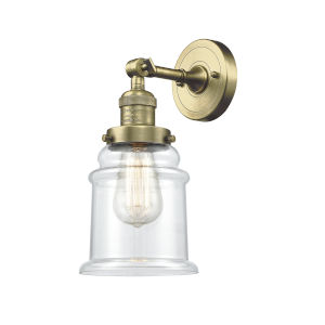 Canton Antique Brass LED Wall Sconce with Clear Glass
