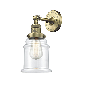 Canton Antique Brass One-Light Wall Sconce with Clear Bell Glass