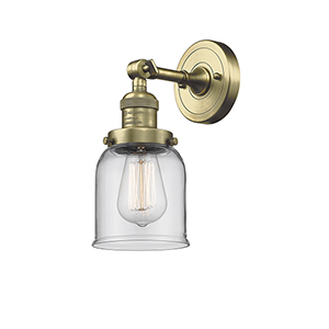 Small Bell Antique Brass One-Light Wall Sconce with Clear Bell Glass