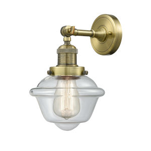 Small Oxford Antique Brass LED Wall Sconce with Clear Glass