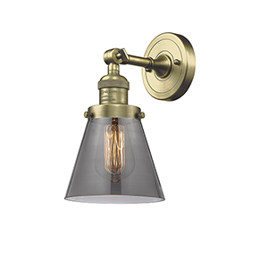 Small Cone Antique Brass One-Light Wall Sconce with Smoked Cone Glass