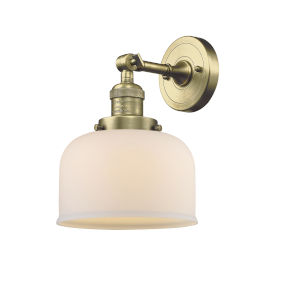 Large Bell Antique Brass LED Wall Sconce with Matte White Cased Glass