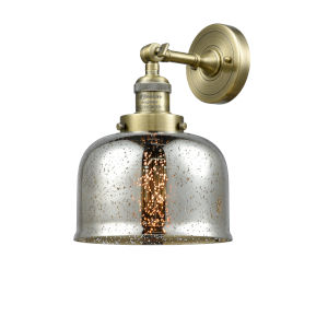 Large Bell Antique Brass LED Wall Sconce