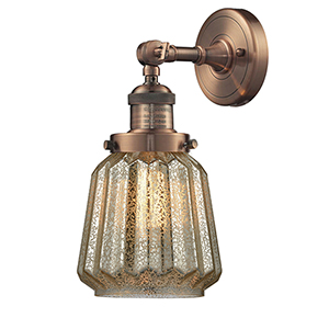 Chatham Antique Copper One-Light Wall Sconce with Mercury Fluted Novelty Glass