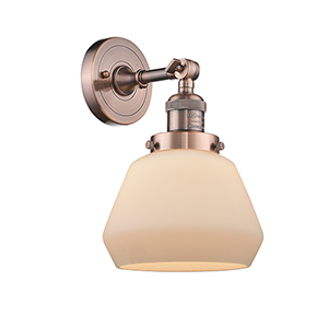Fulton Antique Copper LED Wall Sconce with Matte White Cased Sphere Glass