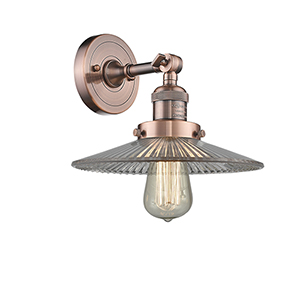 Halophane Antique Copper LED Wall Sconce with Halophane Cone Glass