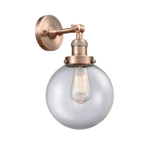 Large Beacon Antique Copper One-Light Wall Sconce with Clear Glass