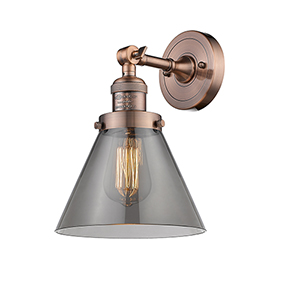 Large Cone Antique Copper LED Wall Sconce with Smoked Cone Glass