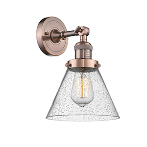 Large Cone Antique Copper LED Wall Sconce with Seedy Cone Glass