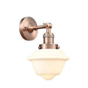 Small Oxford Antique Copper LED Wall Sconce with Matte White Cased Glass