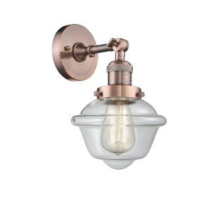 Small Oxford Antique Copper LED Wall Sconce with Clear Glass