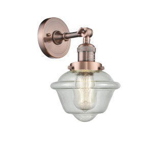 Small Oxford Antique Copper LED Wall Sconce with Engraved Cast Cup