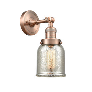 Small Bell Antique Copper One-Light Wall Sconce with Silver Plated Mercury Glass