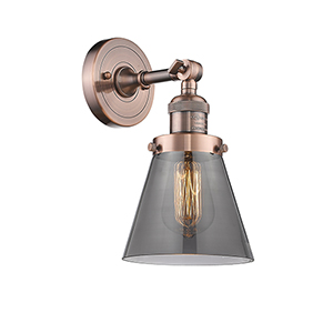 Small Cone Antique Copper LED Wall Sconce with Smoked Cone Glass