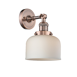 Large Bell Antique Copper LED Wall Sconce with Matte White Cased Dome Glass
