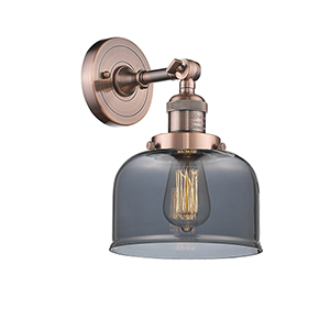 Large Bell Antique Copper LED Wall Sconce with Smoked Dome Glass