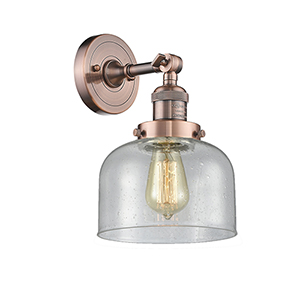 Large Bell Antique Copper LED Wall Sconce with Seedy Dome Glass
