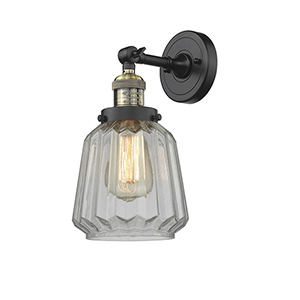 Chatham Black Antique Brass Six-Inch One-Light Wall Sconce with Clear Fluted Novelty Glass