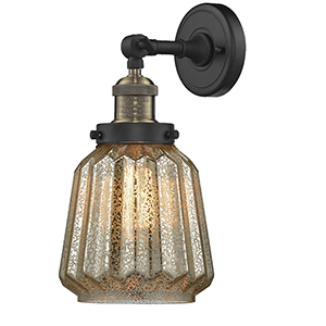 Chatham Black Antique Brass Six-Inch One-Light Wall Sconce with Mercury Fluted Novelty Glass