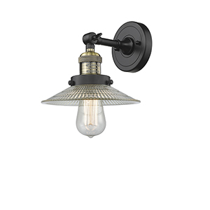 Halophane Black Antique Brass Nine-Inch One-Light Wall Sconce with Halophane Cone Glass
