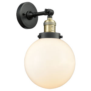 Franklin Restoration Black Antique Brass Eight-Inch LED Wall Sconce with Matte White Glass Shade