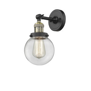 Beacon Black Antique Brass LED Adjustable Wall Sconce With Engraved Cast Cup
