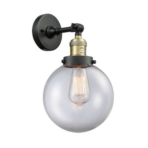 Franklin Restoration Black Antique Brass Eight-Inch LED Wall Sconce with Clear Glass Shade