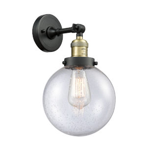 Large Beacon Black Antique Brass One-Light Wall Sconce with Seedy Glass
