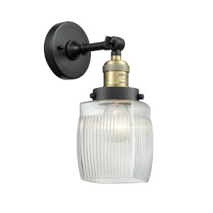 Colton Black Antique Brass One-Light Wall Sconce with Engraved Cast Cup