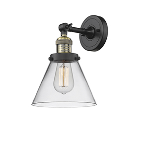 Large Cone Black Antique Brass Eight-Inch One-Light Wall Sconce with Clear Cone Glass