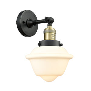 Small Oxford Black Antique Brass LED Wall Sconce with Matte White Cased Glass