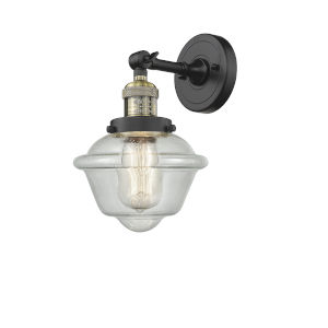 Small Oxford Black Antique Brass LED Wall Sconce with Engraved Cast Cup