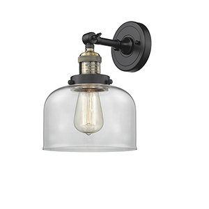 Large Bell Black Antique Brass Eight-Inch One-Light Wall Sconce with Clear Dome Glass