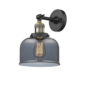 Large Bell Black Antique Brass Eight-Inch LED Wall Sconce with Smoked Dome Glass