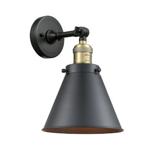 Franklin Restoration Matte Black Antique Brass LED Wall Sconce