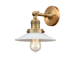 Halophane Brushed Brass One-Light Wall Sconce