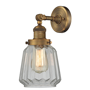 Chatham Brushed Brass LED Wall Sconce with Clear Fluted Novelty Glass