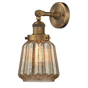 Chatham Brushed Brass One-Light Wall Sconce with Mercury Fluted Novelty Glass