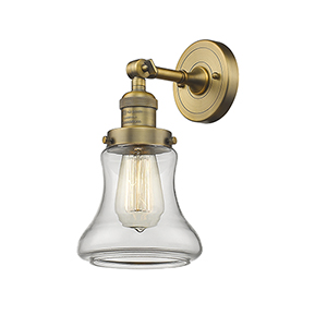 Bellmont Brushed Brass LED Wall Sconce with Clear Hourglass Glass