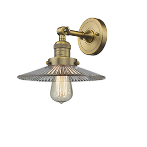 Halophane Brushed Brass LED Wall Sconce with Halophane Cone Glass