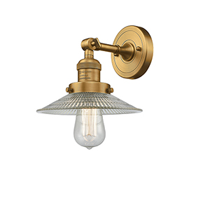 Halophane Brushed Brass One-Light Wall Sconce with Halophane Cone Glass