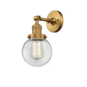 Beacon Brushed Brass LED Wall Sconce with Clear Glass