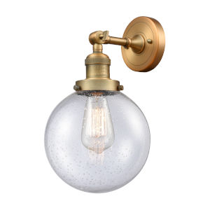 Large Beacon Brushed Brass One-Light Wall Sconce with Seedy Glass