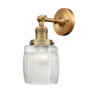 Colton Brushed Brass One-Light Wall Sconce with Engraved Cast Cup