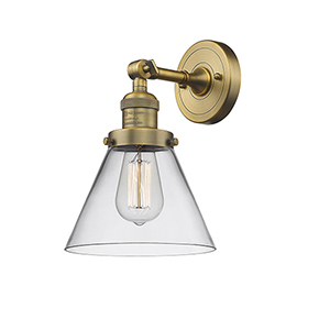 Large Cone Brushed Brass One-Light Wall Sconce with Clear Cone Glass