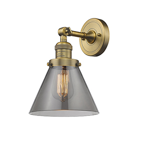 Large Cone Brushed Brass LED Wall Sconce with Smoked Cone Glass